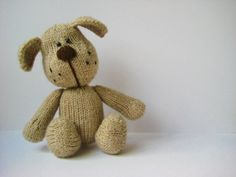 Bernie the dog toy puppy knitting pattern by fluff and fuzz with instant download