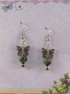 Silver Butterfly Earrings Green Jasper by GalasGiftsJewelry