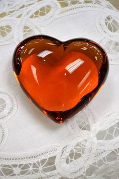 "Amber Glass Heart Shaped Paper Weight - 3"" W x 3"" D"