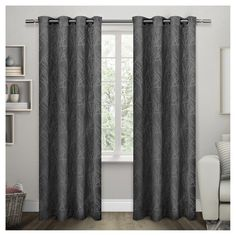 """Set of 2 Twig Insulated Woven Blackout Grommet Top Window Curtain Panels Charcoal (Grey) (54""""x96"""") Exclusive Home"""