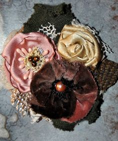 brown pink lace flower brooch coat wrap hat pin corsage vintage 1940 50s velvet
