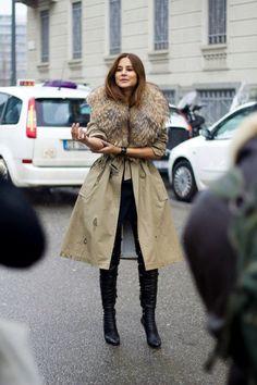 la modella mafia Christine Centenera fashion editor 2013 street style - fur collar coat