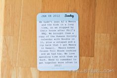 Project Life Idea:  How to print out onto a Project Life journaling card