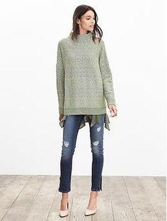 Heritage Textured Mock Sweater Pullover | Banana Republic