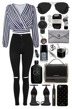 """""""Untitled #812"""" by clary94 ❤ liked on Polyvore featuring Love, Topshop, Givenchy, Yves Saint Laurent, Calvin Klein, Ray-Ban, Daniel Wellington, Kate Spade, Chanel and House of Harlow 1960"""
