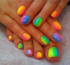 10 cheerful summer toenail art ideas to inspire your pedicure during sandal season. Pretty Toe Nails, Cute Toe Nails, Pedicure Nails, Diy Nails, Pedicures, Toe Nail Designs, Cute Toenail Designs, Pedicure Designs, Toe Nail Color