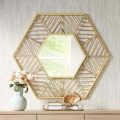 Kelise Gold 39 x Hexagon Wall Mirror Hallway Mirror, Hallway Wall Decor, Mirror House, My Mirror, Metal Mirror, Hallway Decorating, Wall Mirrors, Foyer, Gold Wall Decor