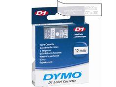 Dymo White Print- Clear Tape, 1-2 X 23