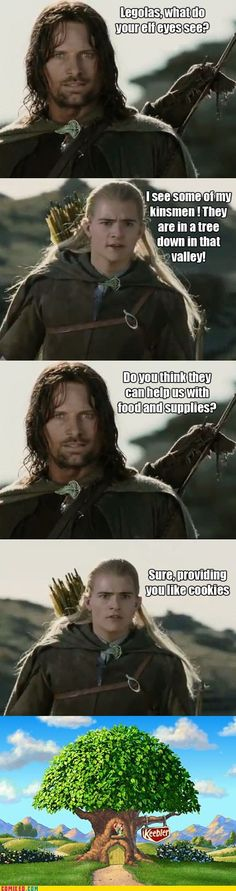 And you thought this was going to be some serious help. Well sorry to burst your bubble, Aragorn. Legolas has kin outside of Middle-Earth.