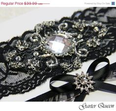 SALE Black Lace Bridal Garter Set, Gothic Wedding, Goth, Stretch Lace and Beaded Crystal Applique