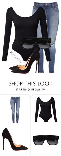 """Untitled #1523"" by kimberlythestylist ❤ liked on Polyvore featuring J Brand, Christian Louboutin and CÉLINE"
