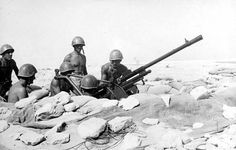 An Italian anti-aircraft battery with a 20-mm gun Cannone-Mitragliera da 20/65 modello 35 (Breda) in position in the North African desert.