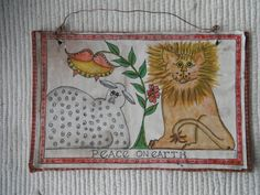 primitive fraktur of lion and lamb by primitivehand on Etsy, $48.00