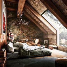 gorgeous window in this cabin bedroom