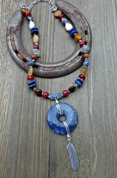 Blue sodalite, sunstone, jasper, citrine stone, glass and silver metal necklace. - McKee Jewelry Designs