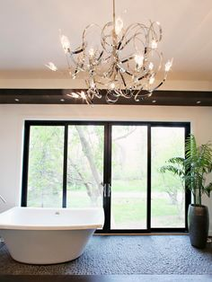 Beautiful Luxury Bathtubs - chandelier | HGTV