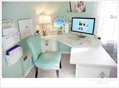 Such a pretty office - Pottery Barn Bedford Corner desk, Sherwin Williams Waterscape on the walls