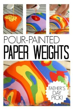 Pour-Painted Paper Weights Father's Day Gift Kids Can Make