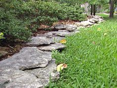 Stacked Beautiful Stone Landscape Borders , Natural And Beautiful Stone Borders For Landscaping In Landscaping And Outdoor Building Category Landscape Edging Stone, Landscape Borders, Stone Landscaping, Garden Borders, Landscaping With Rocks, Outdoor Landscaping, Outdoor Gardens, Landscape Design, Garden Design