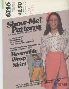 Girls Skirt Pattern Mccall's 6146 - Show me Patterns - visual sewing system Easy reversible skirt Sz 7-8-10 UNCUT Rare