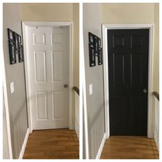 Hallway doors painted black using Behr Black Mocha and walls painted with Behr Perfect Taupe.Love the outcome! Perfect Taupe Behr, Black Painted Furniture, Black Doors, Painted Doors, Home Reno, Interior Ideas, Mocha, Armoire, Tall Cabinet Storage