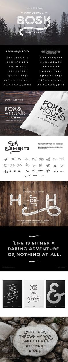 Bosk Hand is a #vintage #inspired display #font family