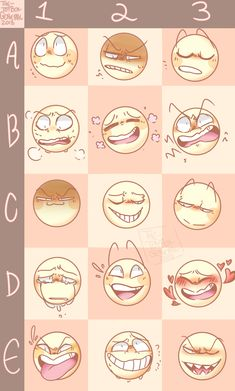 Sketch Face Expressions for drawings (A-B-C-D-E) Drawing Reference Poses, Drawing Poses, Drawing Tips, Drawing Ideas, Drawing Stuff, Facial Expressions Drawing, Drawing Meme, Expression Sheet, Art Prompts