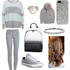 A fashion look from March 2015 featuring 360 Sweater sweaters, Pieces leggings and Converse sneakers. Browse and shop related looks.