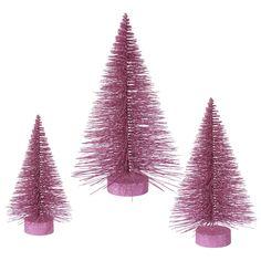 3 Piece Glitter Fat Christmas Tree Set