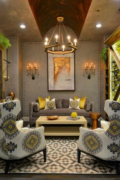 Hmmm! love the grey, green, black for living room color palette with ...