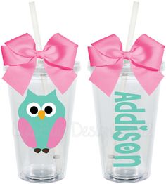 Cute Owl 16oz Personalized Acrylic Tumbler. $15.00, via Etsy.