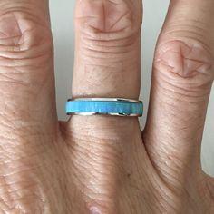 Sterling Silver Light Blue Lab Opal Eternity Band, Index Ring, Midi Ring, Thumb Ring, wedding Ring by IndigoandJade on Etsy