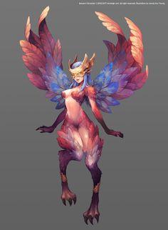 Female: Harpy/ Guardian of the Skies Female Monster, Fantasy Monster, Monster Art, Fantasy Character Design, Character Design Inspiration, Character Art, Character Concept, Monster Illustration, Manga Illustration