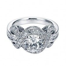 This looks like a 3 stone ring in real life. Engagement Rings : Antique Halo Diamond Engagement Ring Setting