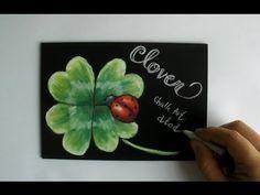 チョークアートで春を楽しむ、黒板に描くクローバー (chalkart: clover)