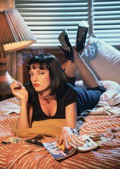 Black V neck, Capris & Stilettos - Uma Thurman in Pulp Fiction.