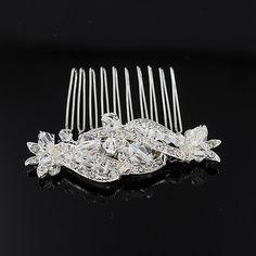 <ul><li>Headpiece - Silver, Diamante