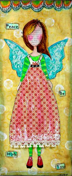 Original Shabby Chic Peace Angel Girl Wood Canvas Painting on Etsy (5x12)