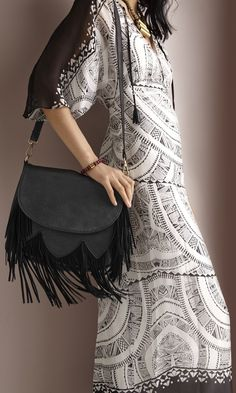 Fringe Purse + Boho Maxi Dress