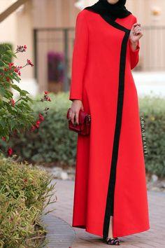 modern jilbabs islamic abaya online hijab style clothing clothing catalogues muslim clothes for sale red dress Islamic Fashion, Muslim Fashion, Modest Fashion, Hijab Abaya, Hijab Dress, Abaya Fashion, Fashion Wear, Fashion Outfits, Modest Dresses