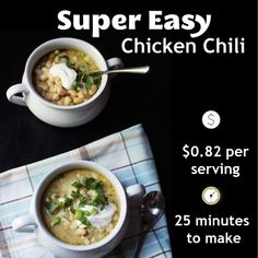 Make dinner in less than 30 minutes and for super cheap with this super easy chicken chili recipes. Easy Chicken Chili, White Bean Chicken Chili, How To Cook Chicken, Chili Recipes, Crockpot Recipes, Baking Recipes, Chicken Recipes, Easy Weekday Meals, Easy Dinners