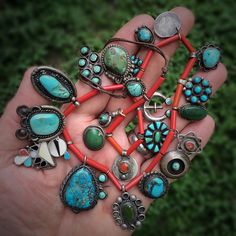Native American silver, turquoise, and coral pieces. Mostly Navajo. Collection of Stephen Parfitt, Springfield Illinois.