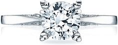 This image shows the setting with a 1.00ct round brilliant cut center diamond. The setting can be ordered to accommodate any shape/size diam...