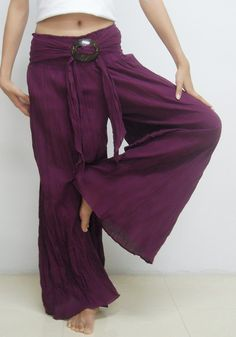 Purple Pants Casual Cotton Mix to Coconut Shell B by SeasonChange, $32.00.  These look so comfortable!!!