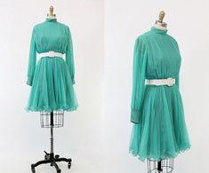 60s Miss Elliette Chiffon Dress XS / 1960s Crystal Pleated Cocktail Dress / Malachite Dress