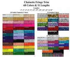 Jade Many Colors Available Made in USA 12 Continuous Yards 3 Chainette Fringe Trim