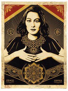 SHEPARD FAIREY - PEACE & JUSTICE WOMAN HPM - GREGG SHIENBAUM FINE ART MIAMI http://www.widewalls.ch/artwork/shepard-fairey/peace-justice-woman-hpm/ #Print