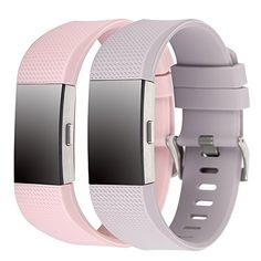 Charge 2 Band Replacement,Classic Silicone Band Accessories Adjustable Strap Belt For Fitbit Charge 2 Heart Rate Fitness Wristband (Blush Pink Lavender) * Continue to the product at the image link.