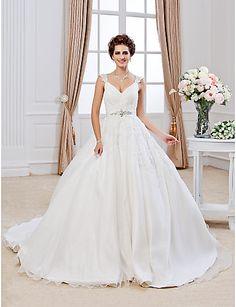 Lanting Ball Gown Petite / Plus Sizes Wedding Dress - Ivory Chapel Train V-neck Organza 2016 - $189.99
