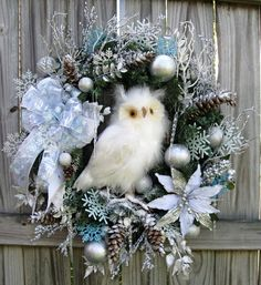 White and Silver Winter Owl Christmas Wreath by IrishGirlsWreaths, $159.99- SOLD!